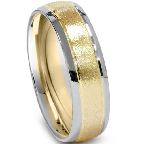 Mens Two Tone Wedding Ring 14K White & Yellow Gold 6MM High