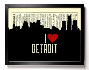 I Love Detroit, Michigan, City Skyline, Home, Bath, Office Decor, Wedding Gift, Eco Friendly Book Art, Vintage Dictionary Print 8 x 10 in.