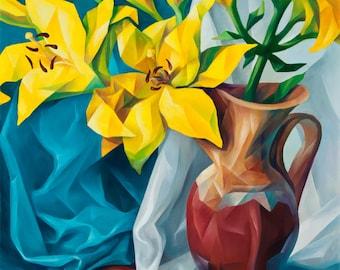 "YELLOW LILIES Giclee Canvas Print 18""x30"""