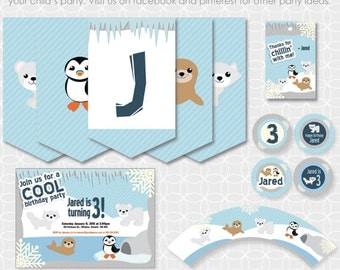 Party Printable Arctic Animals Theme Basic Package - Personalized Printable - ice, winter, seal, polar bear, penguin, wolf