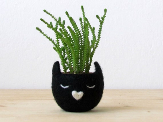 Felt succulent planter  / micro cactus planter / Kitty cat pod / Black cat vase / Cat lover gift / mother day gift - Choose your color!