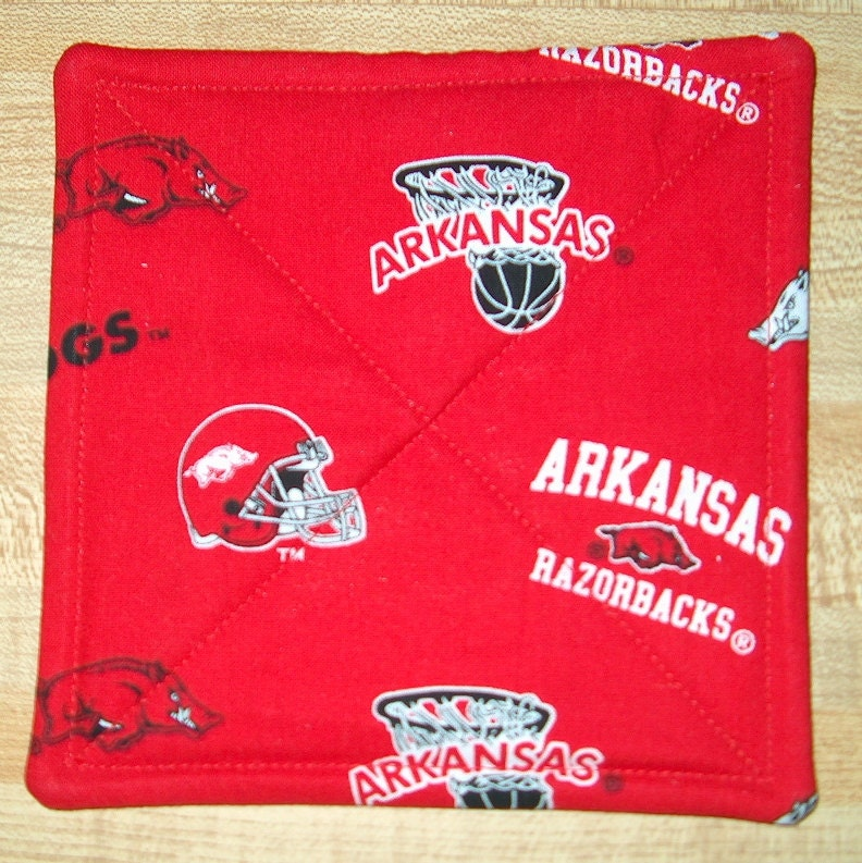 Arkansas Razorbacks Football Mug Rug Quilted Coaster Woo Pig