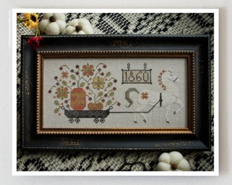 Harvest Delivery Autumn cross stitch pattern by Plum Street Samplers at cottageneedle.com pumpkins hand embroidery