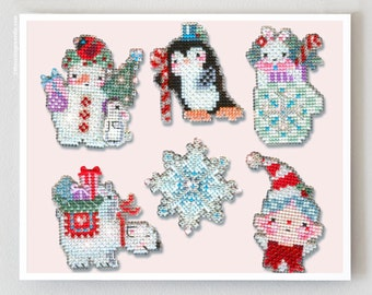Crystal Critters Stitch-a-Little counted cross stitch patterns kit by Brooke's Books perforated paper Christmas ornaments