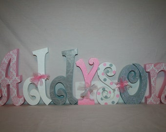 Nursery wall letters Baby girl wooden letters 15.00 per letter Pink and gray nursery decor Custom wooden letters Name letters Wood name sign