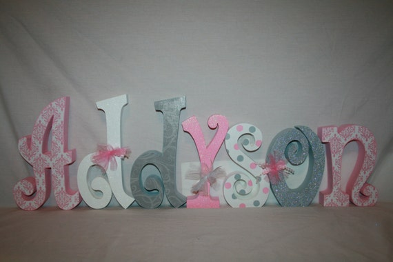 Items Similar To Nursery Name Letters, Baby Girl Wood