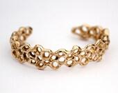 Honeycomb Slim Cuff Bracelet - Golden Brass