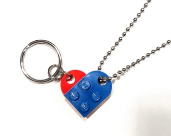 BFF Best Friends Heart Keychain and Necklace Set - Made of LEGO® Bricks - Friendship Friend Gift - Dog Tag Style Ball Chain