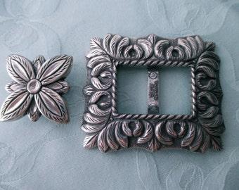 silver floral belt buckle -  supplies