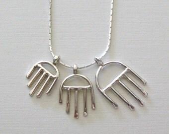 Hamsa  Amulets Charm Pendant -  Sterling Silver Urban Good Luck  Charm - תליון חמסה - Handmade Jewelry