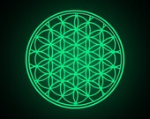 Glow in the Dark Flower of Life mandala vinyl Wall DECAL- seed Sacred Geometry, Phosphorescent Sticker