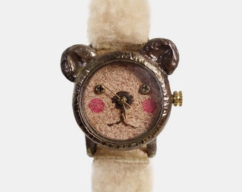 Vintage Handmade Wrist Watch. Leather Band with natural wool /// A cute little bear GomGom - Perfect Gift for Birthday