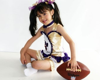 Pageant OOC LSU super bowl dress football cheerleader casual wear Team Spirit glitz or natural talent wear sport team custom 12m up to 10 yr