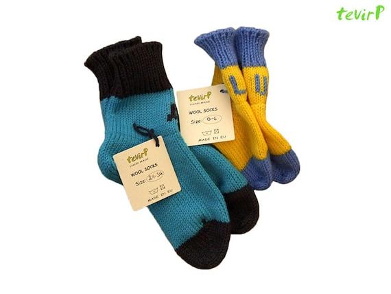 Socks - 1 - 36 months PERSONALIZED Initials 100% merino wool baby children knit handmade