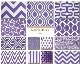 Custom Baby Crib Bedding- Design Your Own Modern Bedding- Dorm Bedding- Glider Cushions- Modern Basics (Purple)