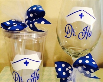 Personalized Nurse Tumbler and Wine Glass-Best Nurse Gift-RN Gift-Nursing Student Gift