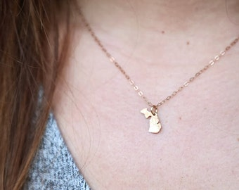 Tiny Gold Michigan Necklace. Small Michigan Jewelry. I Love Gold Michigan Mitten Charm. Lake Michigan Wolverines Home Necklace. Wedding Gift
