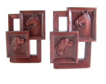 Vintage Bookends Syroco Western Ranch Lodge Horses Dogs Decor