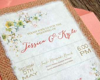 NEW- D-I-Y Vintage Flowers with Coral Accents Rustic Burlap Wedding Invitation