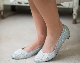 Wedding shoes ballet flats silver metallic low heel bridal shoes embellished with ivory Venice lace