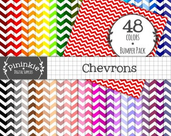 48 Chevron Digital Paper - INSTANT Download - 48 Basic Scrapbooking Papers - 12x12 - Commercial Use (Cu)
