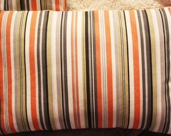 Fall Accent Pillow Covers - Orange Black Grey Stripes - 16x16