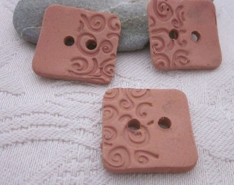 3  Spiral Half Texture Square Terracotta Buttons