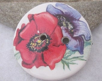 Large Bright Anemone Flower Motif Ceramic Button