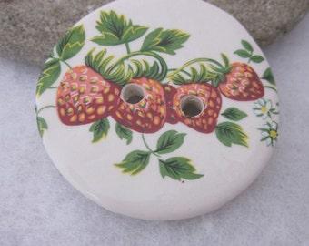 Large Strawberry Plant Motif Ceramic Button