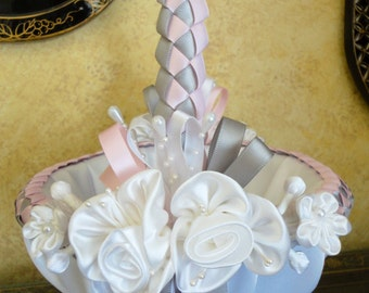 Wedding Flower Girl Basket, White, Light Pink and Grey or Custom Made to your Colors with Flowers and Pearls
