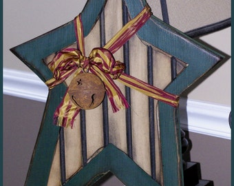 Primitive Christmas Star with Rustic Bell, Green and Natural Brown, Christmas Bell, Door or Wall hanger