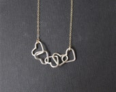 love hearts sterling silver hearts and hearts with gold chain necklace