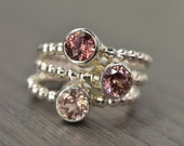 Natural Rose Pink Zircon Stack Rings, silver gold trio stacking stackable jewelry - Carmine Rings