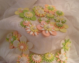 Sugar Gumpaste Totally Edible Whimzees Mystical Flower Blossoms Peach, White, Apple Green, Yellow, Cupcake Toppers, Cake Decor Set of 24