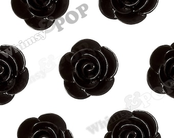 20mm - Large Black Begonia Cabochons, Flower Cabochons, Flower Cabs, Flower Resin Flatbacks, Flower Embellishments, 20mm (R7-050)