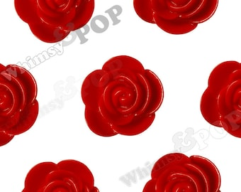 20mm - Large Red Begonia Cabochons, Flower Cabochons, Flower Cabs, Flower Resin Flatbacks, Flower Embellishments, 20mm (R7-050)