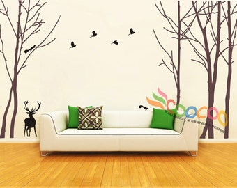 Wall Decal, wall Stickers, Tree, Removable, Tree and Birds, forest with deer 2 colors