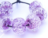 RESERVED for HW - Pale raspberry pink bubble bead set of seven - lampwork glass beads set