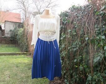 Pleated Skirt Vintage / Pleated skirts / Bellow Knee / Dark Blue / Marine / Size EUR 42 / UK14 Elastic Waist