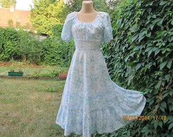 Cotton Dress Vintage / Size EUR 38 / UK10 / Blue / White / Mint / Light Violet