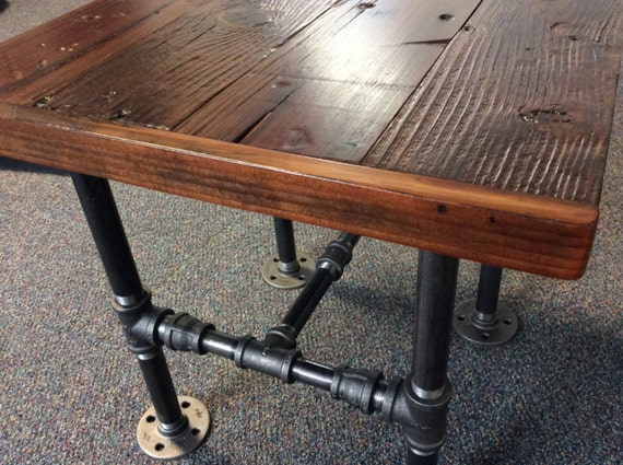 Industrial Square End Table With Reclaimed Wood And Black Pipe