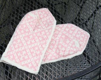 Pink  & Cream Hand Knit Nordic Design Mittens