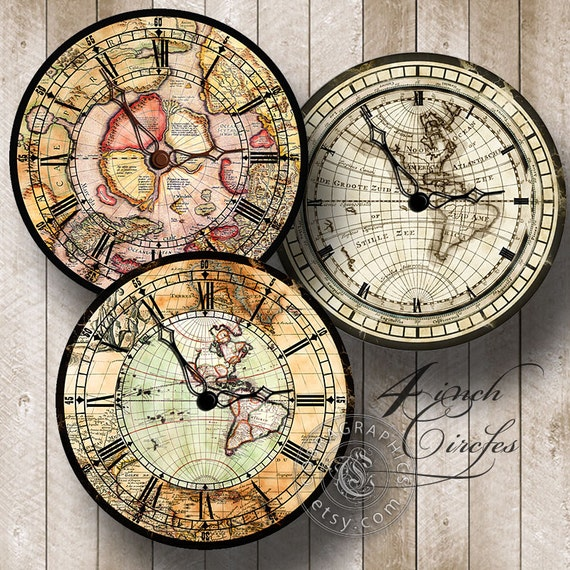Vintage Map Clocks 2 Digital Collage Sheets by CobraGraphics