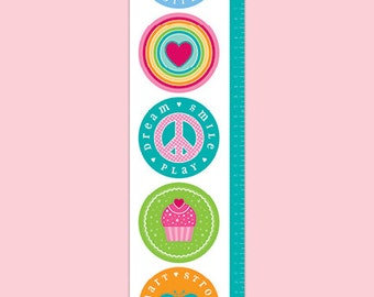 Personalized  Canvas Growth Chart - My Favorites Teal