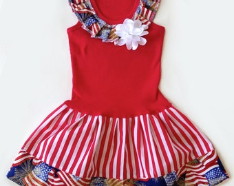 Girls Patriotic Dress Red White Blue Dresses American Flag Outfit Girls Clothing Baby Toddlers Sizes 3 6 12 18 Months Girls 2 3 4 5 6 8