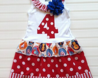 Girls Custom Circus Dress Circus Dress Circus Party Dress Circus Outfits Baby Toddlers Size 0-3 3-6 6-9 12 18 24 Months Girls 2 3 4 5 6 8