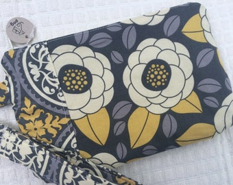 Yellow and Gray Floral Wristlet