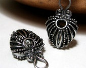 Silver Pendant or Earring Parts Drop Style 26mm Antique Silver Alloy 2 Pieces Bali style