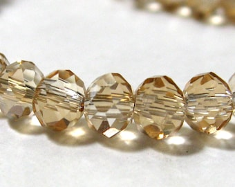 Electroplate Glass Beads, 4mm, Faceted, Goldenrod, Full Strand