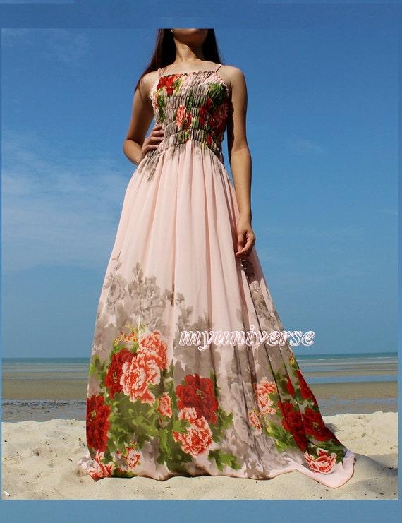 Peach maxi dress prom wedding pink bridesmaid dress sundress for Summer maxi dresses weddings